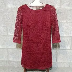Dark Ruby Red Lace 3/4 Sleeve Mini Cocktail Dress